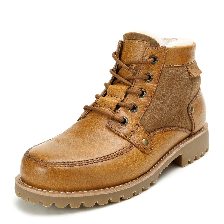 女士浅棕色羊皮毛一体马丁靴