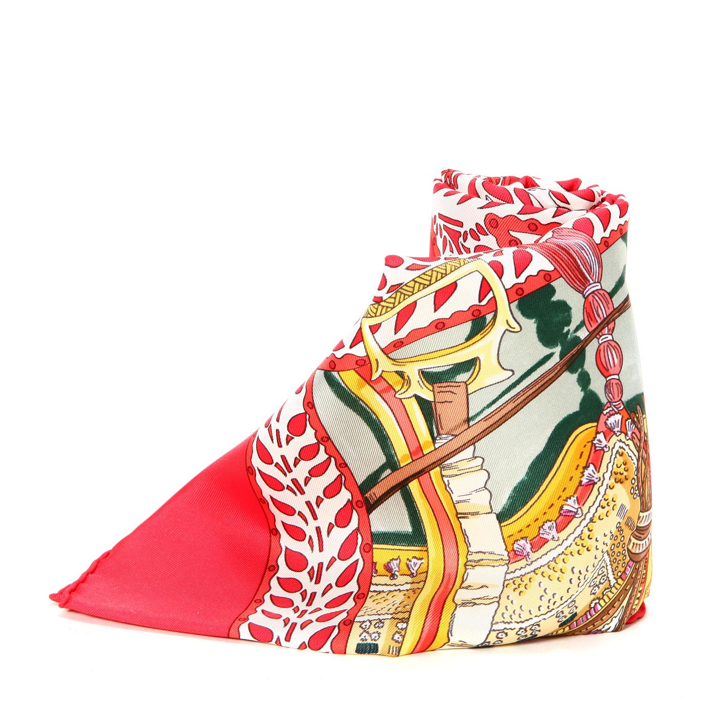 hermes(爱马仕) 红色动物图案丝巾90图片