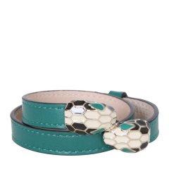 BVLGARI/宝格丽 女士绿色小牛皮双蛇头多圈手镯手环 3999图片