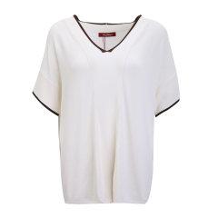 MaxMara/麦丝玛拉-混合材质褐色领边设计V领短袖女士针织衫/毛衣 断码图片