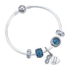 PANDORA 潘多拉 女士蓝绿色925银闪耀之心海星贝壳手链手镯 PAND00028图片