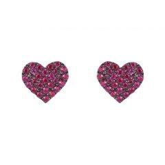 【周冬雨同款】APM Monaco/APM Monaco 红色 银色 桃心爱心形耳钉 时尚简约小巧S925银饰品送女友礼物  AE11073OX AE11073KR图片