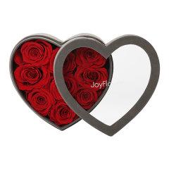 JoyFlower情人节进口永生花礼盒生日礼物心形9朵/13朵花盒玫瑰花图片