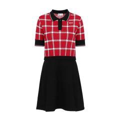 Red Valentino/Red Valentino混合材质格纹编织短袖女士连衣裙图片