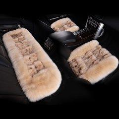 【奢品节可用券】pinganzhe   汽车新款澳洲进口秋冬季狐狸毛加羊毛三件套座垫 汽车冬季保暖座垫咖啡色. 全部图片