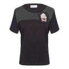 Red Valentino/Red Valentino 黑色灰色棉质女士短袖T恤NR0MG07G 3E3图片