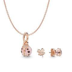 PANDORA/潘多拉   玫瑰幸运粉红女士 项链 耳环 套装图片