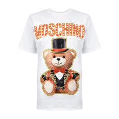 MOSCHINO/莫斯奇诺 19春夏 女士棉质圆领小熊印花短袖T恤 情侣款图片