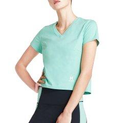 美国HOTSUIT运动短袖女2019夏季新款V领纯色舒适透气运动T恤休闲图片