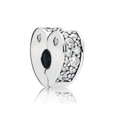 PANDORA/潘多拉 女士银色925银璀璨爱的弧线心形固定扣串珠 797020NRPMX图片