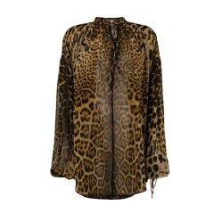 SAINT LAURENT PARIS/SAINT LAURENT PARIS 18年秋冬 ysl  女性 ysl 印花 豹纹 豹纹色 女士长袖T恤 520486 Y821S 9665图片
