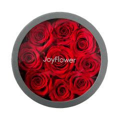 JoyFlower情人节进口永生花礼盒生日礼物全世爱圆形9朵/13朵花盒玫瑰花图片