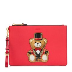 MOSCHINO/莫斯奇诺 【19春夏新款】女士牛皮可爱礼帽泰迪熊魔术熊时尚手拿包零钱包 多色可选图片
