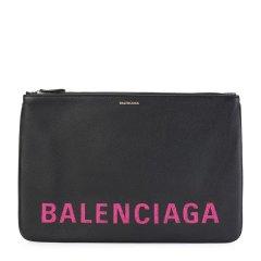 Balenciaga/巴黎世家 19春夏 中性款式小牛皮LOGO印花大号手拿包图片