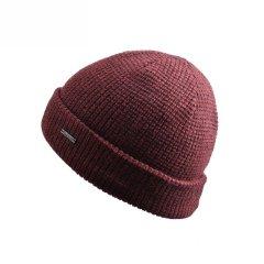 纯色翻边双层针织帽全羊毛光头保暖帽子老人男冬天青年毛线帽图片