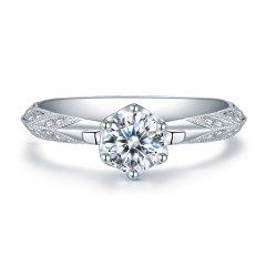 ZOCAI/佐卡伊 女神的嫁衣 白18k金钻石戒指女经典六爪钻戒婚戒求婚戒指 定制图片