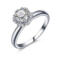 ZOCAI/佐卡伊 捧花 白18K金钻戒女款钻石求婚结婚戒指爪镶女戒图片