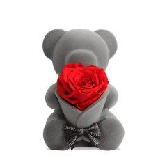 JoyFlower情人节进口永生花音乐熊玫瑰熊水晶球八音盒送女友生日礼物图片