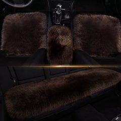 【奢品节可用券】pinganzhe  汽车新款纯羊毛三件套座垫 汽车秋冬季长款羊毛座垫烈焰红 全部图片