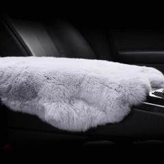 【奢品节可用券】pinganzhe  汽车新款獭兔毛冬季毛绒单片扶手箱垫  皮毛一体扶手箱垫片深咖色 全部图片