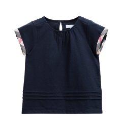 BURBERRY KIDS/BURBERRY KIDS 女童白色棉质T格纹袖口T恤 4041870图片