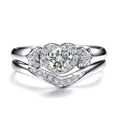 ZOCAI/佐卡伊 白18k金钻石戒指套戒组合女士结婚群镶钻戒女图片