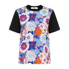 【Designer Womenwear】MSGM/MSGM-混合材质花朵印花图案女士短袖T恤 断码图片