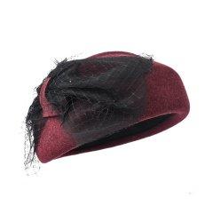 羊毛复古礼帽女春秋英伦网纱名媛南瓜帽呢子毡帽画家贝雷帽图片