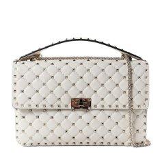 Valentino/华伦天奴 19春夏 女士黑色小羊皮铆钉装饰单肩斜挎包手提包图片