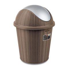 【新品】StefanPlast利快意大利进口彩色藤编翻盖垃圾桶摇盖清洁桶10升图片